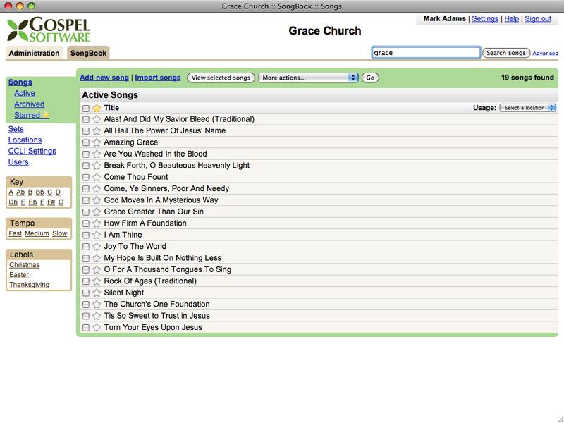 Gospel Software :: SongBook